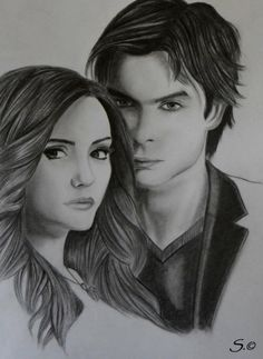 Drawing of Nina Dobrev & Ian Somerhalder