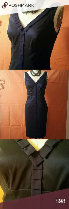 NWOT Adrianna Papell size 6 blue midi dress Double v-neck w silk chiffon detailing, stretch material with satin finish Adrianna Papell Dresses Midi