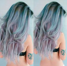 Rainbow Hair, Tatoo Inspiration, Blue Hair, Purple Hair, Girl, Style, Colorful