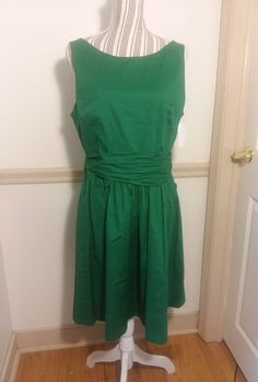 NWT Eliza J. 97% Cotton Kelly Green Garden Party Dress w Sexy Back Detail sz 14 #ElizaJ #50sFlare #SummerBeach
