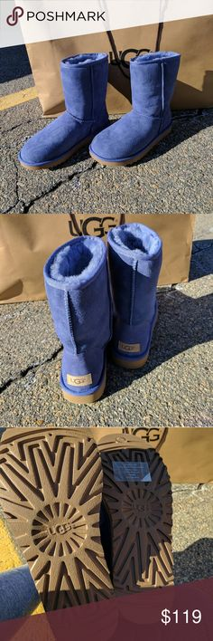 Ugg Blue Classic Short II Boots Classic Short is an icon of casual style. Now pretreated to protect against water and staining, this luxurious sheepskin boot has also been updated with the Treadlite by UGG? sole, which provides increased cushioning, durability, and traction.  DETAILS:  Pretreated Twinface and suede  Sheepskin insole  Treadlite by UGG? outsole  8? shaft height  Box does not have lid UGG Shoes Winter & Rain Boots