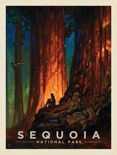 Vintage Poster Kai Carpenter for Anderson Design Group: Oil Painting, Retro Travel Poster, Sequoia National Park - American National Parks, Us National Parks, Sequoia National Park, Photo Vintage, Vintage Art, Vintage Room, French Vintage, Kunst Poster, Park Art