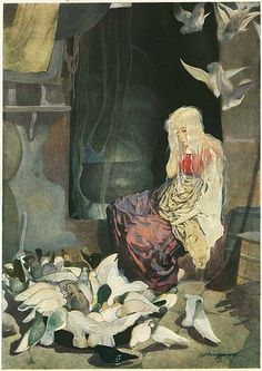 Grimm's Fairy Tales, illustr. Gustav Tenggren. The doves help Aschenputtel (Cinderella) sort the lentils from the stones.