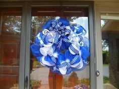UK Wreath Blue and White Mesh Ribbon with by LollyDotsBoutique, $75.00
