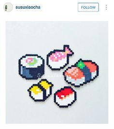 Sushi perler Perler Bead Designs, Diy Perler Beads, Hama Beads Patterns, Beading Patterns, Beaded Cross Stitch, Cross Stitch Patterns, Minecraft Pattern, Peler Beads, Melting Beads