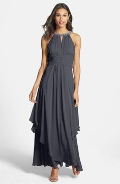 Eliza J Embellished Tiered Chiffon Halter Gown... in champagne instead of charcoal