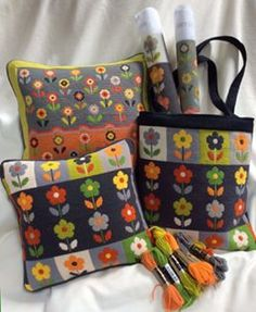 Bloom-Pah-Pah and Ditsy Daisies, gorgeous tapestries to make into cushions or bags. Needlepoint Designs, Modern Cross Stitch, Cushion Covers, Special Gifts, Embroidery Patterns, Diaper Bag, Daisy, Bloom, Cushions