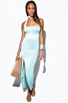 Trendy Cute mint green/white mesh wrap high slit strapless evening party maxi dress fo cheap | Affordable Clothing | 1015 store