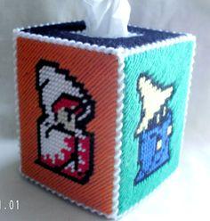 Final Fantasy Tissue Box Cover Plastic Canvas Kleenex Cozy FF1 Sprites 8 Bit.    -- For Jared