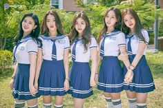 Kim Eunsuh, Natty, Park Jiwon,Lee Dahee and Chu Wonhee (i don't believe Wonhee with that tall? Pop Fashion, Cute Fashion, Skirt Fashion, Korean Women, Korean Girl, Asian Girl, Cute School Uniforms, School Uniform Girls, Korean Best Friends