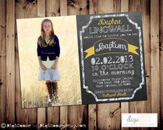 Printable Chalkboard LDS Baptism Announcement or Invitation -- A Custom  Digital invite or Printed for you