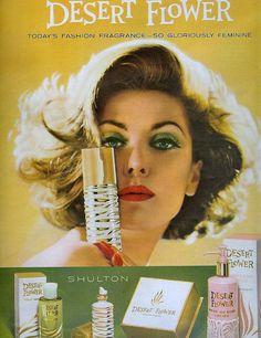 Desert Flower Perfume-Seventeen Magazine, Anybody else remember this stuff? Vintage Makeup Ads, Vintage Beauty, Vintage Ads, 1960s Makeup, Retro Ads, Vintage Vanity, Vintage Posters, Perfume Ad, Cosmetics & Perfume