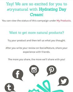 Yay so excited to #trynatural Hydrating Day Cream by @socialnature.  Thank you for the opportunity!
