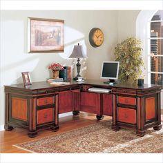 Coaster Chomedey Traditional L-Shaped Desk in Cappuccino/Dark Oak