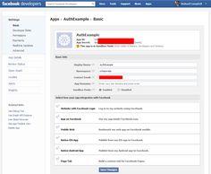Facebook Basic Settings Example Screenshot