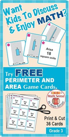 Students using this FREE set of 36 printable cards for Grade 3 will match rectangles with the same area but different perimeters. The set comes with instructions for four fun games with variations for different ability levels. See other versatile math card sets that use the same instructions. ~by Angie Seltzer