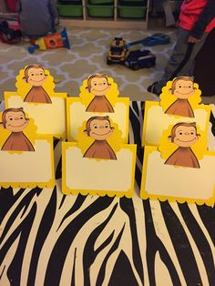 Curious George Placecards/food tent-12 per by RowdyBoysDesigns