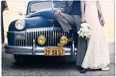 Bride and Groom with the Getaway Car