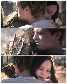 When I watched this in the movie I panicked thinking it was still the hijacked Peeta and he would grab her arrow and stab her with it. But he doesn't, and I was happy to see the old peeta again!