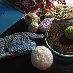 Only some of tonight's WIPs I have a few more on the other side of my desk but they're too large to get into the picture. I've got the Eeyore cup cozy a BB-8 order in progress a cactus garden commission and a corgi in the background. So much work to do but it's all fun!  #amigurumi #crochet #wip #workinprogress #commission #commissions #cactus #eeyore #cozy #cupcozy #disney #cacti #cactusgarden #bb8 #bb8droid #starwars #theforceawakens #plush #plush #crafty #craft #corgi #dog #etsy…