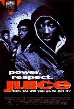 """Directed by Ernest R. With Omar Epps, Tupac Shakur, Jermaine 'Huggy' Hopkins, Khalil Kain. Four inner-city teenagers get caught up in the pursuit of power and happiness, which they refer to as """"the juice"""". 90s Movies, Good Movies, Saddest Movies, Awesome Movies, Movies Showing, Movies And Tv Shows, Cincinnati, Juice Movie, African American Movies"""