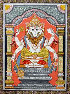 Narasimha Avatar - The Fourth Incarnation of Vishnu (Orissa Pattachitra Painting on Canvas - Unframed) Ancient Indian Art, Indian Folk Art, Kalamkari Painting, Madhubani Painting, Easy Canvas Painting, Canvas Art, Phad Painting, Pagan Gods, Madhubani Art
