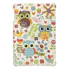 Colorful Owls and Flowers Happy  iPad Mini Case