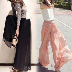 Discount Price: US $7.50 / piece Fashion loose high waist chiffon skirt pants 2015 summer casual wide leg pants trousers skirt female
