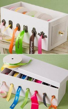 absolutely brilliant way to store ribbon! Key holes look cool, but grommets are more functional. get reorganized by reusing ! great idea for ribbon organization organize your ribbons in a shoe box or dvd storage box Ribbon Organization, Ribbon Storage, Sewing Room Organization, Organization Ideas, Organizing Tips, Craft Room Storage, Dvd Storage, Office Storage, Craft Storage Ideas For Small Spaces