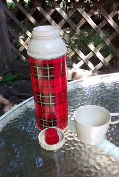 Vintage plaid thermos / tartan Thermos with by HappyVintageStudio