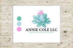 Watercolor Logo Design, Succulent Logo, Event Planner Logo, Wedding Planner Logo, Nature Logo, Organic Logo, Watercolour Logo, Natural Logo // $25