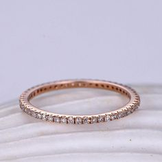 Petite French pave Diamond wedding band solid 14k rose gold,FULL eternity ring,engagement ring,stacking matching band,anniversary,1.2mm thin band 1pcs Matching band: Material:14k rose gold (18k/14k rose gold,yellow gold and white gold is available) Band width approx 1.2mm (THIN BAND)