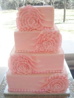 Beautiful! Soft Pink Square Wedding Cake with ruffle rosette detail
