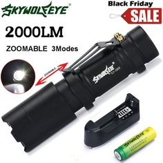 Bicycle Light Cycling Bike Front Headlight Zoom   Q5 2000LM Mini LED Flashlight Focus Torch Light+14500 Battery+Charger F,22