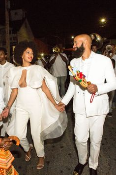 All The Outfits From Solange's Epic Wedding Weekend #refinery29  http://www.refinery29.com/2014/11/78102/solange-knowles-wedding-outfits#slide4  And, one more one-piece for the new bride. This one also complete with a cape, naturally.