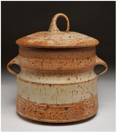"Robert C. Turner (1913-2005). The Nevica Project. ""rare lidded jar with handles"" reduction fired stoneware height 9.25 x width 7.25 signed turner on bottom circa 1980 $3500"