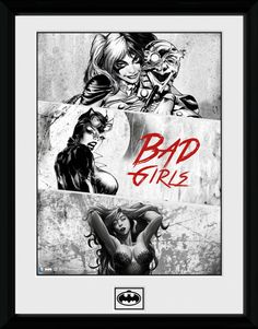 Batman - Harley Quinn - Catwoman - Poison Ivy - Bad Girls - Big Framed Collector Print. 25mm Moulding. Shatter Proof Styrene. Official Merchandise. FREE SHIPPING