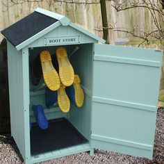 Affordable Garden Designs for Outdoor Living - Sue Ryder | If you're one for muddy walks and/or getting messy in the garden, you might be glad to know that you can now hide those unsightly welly boots with this rather fab Boot storage shed. #gardeninspo #gardenstorage #gardenideas #outdoorliving #storageideas #garden #interiors #gardenlove #outdoorideas #outdoorfurniture