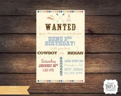 This listing is for a COWBOY & INDIAN printable invitation! To print invitations, I would recommend card stock. Photo paper (Glossy or Matte) are great options as well. You also can send it to a printing center if you wish. Size(s) offered for this invitation are: 4x6 or 5x7 (PLEASE SPECIFY IN NOTES TO SELLER OR WILL AUTOMATICALLY SEND AS 4x6 )! ►Included in this listing are: 1 PDF file invitation.(,JPG FILES BY REQUEST ONLY) Note: NO ITEMS WILL BE SHIPPED, FILES ARE DIGITALLY DELIVERED...