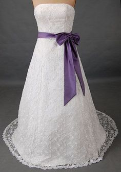 strapless lace wedding dress with purple
