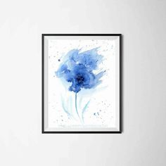 Blue Watercolor Flower Print Blue by AnellHappyWatercolor on Etsy