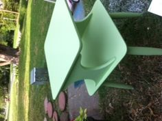 retro side tables that were this awful brown...now a delicious sherbert green!!!