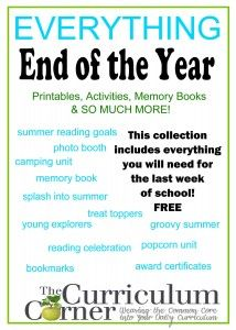 Amazing collection of end of the year activities, printables & more free from The Curriculum Corner.