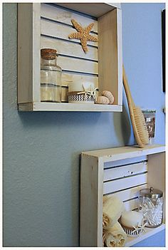 Shabby Chic beach-crate wall shelf by BrandNewToMe on Etsy