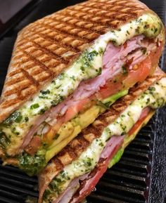 Ham, cheese, vegetable and pesto sandwich - Make Food Think Food, I Love Food, Good Food, Yummy Food, Tasty, Healthy Food, Healthy Recipes, Food Obsession, Food Goals