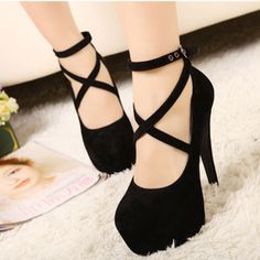 2014 Ladies Suede Pumps Platform Stiletto Ankle Strapped High Heels Shoes NEW