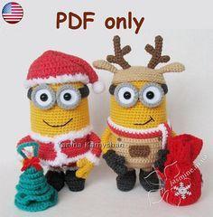 Minion Christmas amigurumi crochet pattern bundle (Reindeer + Santa) More Cactus Amigurumi, Crochet Amigurumi, Amigurumi Patterns, Amigurumi Doll, Crochet Dolls, Minion Christmas, Christmas Crafts, Reindeer Christmas, Cute Crochet