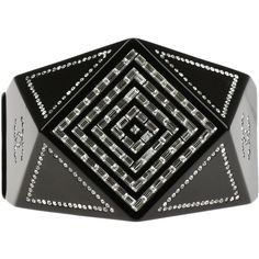 Pre-owned Chanel Black Resin Geometric CC Crystal Hinge Cuff Bracelet ($1,295) ❤ liked on Polyvore featuring jewelry, bracelets, cuff bracelet, magnetic jewelry, resin bangle bracelet, bangle bracelet and chanel jewelry