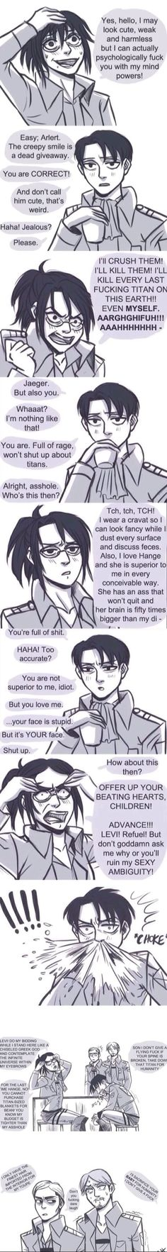 Attack on Titan: Hange doing impressions of Armin, Eren, Levi and Erwin. This board = hilarious