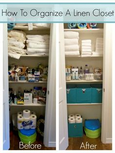 Learn how to organize a linen closet with this step-by-step tutorial including video! Learn how to organize a linen closet with this step-by-step tutorial including video! Bathroom Closet Organization, Diy Organization, Bathroom Storage, Closet Organisation, Organize Bathroom Closet, Hallway Closet, Organizing Home, Dollar Store Organization, Organization Ideas For The Home